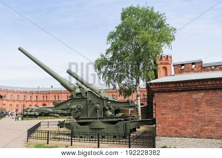 St. Petersburg Russia - 28 May, Long-range heavy howitzers, 28 May, 2017. Military History Museum of combat equipment in St. Petersburg.