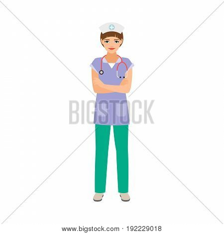 Embryologist medical specialist isolated vector illustration on white background