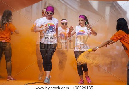 CLUJ-NAPOCA, ROMANIA - May 13, 2017 : Unidentified people at the Cluj-Napoca Color Run on May 13, 2017. The Color Run is a 5k worldwide hosted fun race.