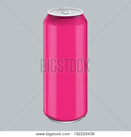 Pink Metal Aluminum Beverage Drink. Mockup for Product Packaging. Energetic Drink Can 500ml, 0, 5L. Illustrated vector