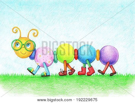 hand drawn picture of cheerful caterpillar in glasses, walking on the grass in the shoes by the color pencils