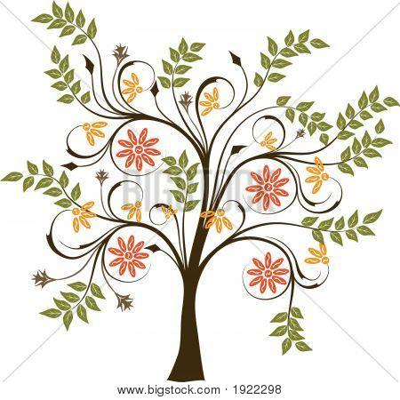 Blossoming tree art illustration element for design poster