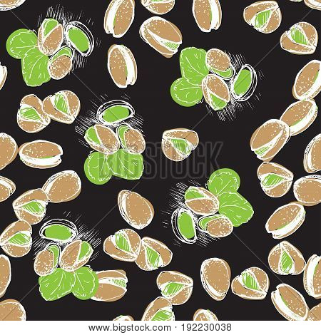 Pistachio hand draw seamless background. Pistachio pattern on black back.