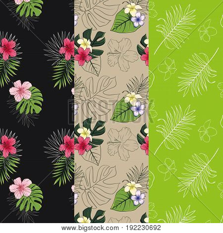 Set of 3 seamless patterns with tropical designs. Pattern with tropical plants.