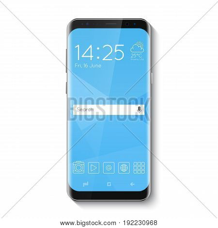 Popular top model of modern frameless smartphone. Technological template with blue display. Vector illustration