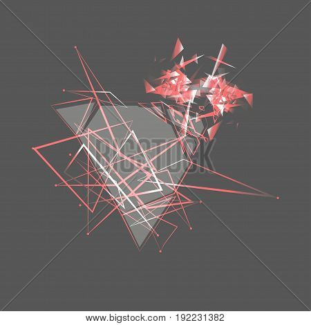 Abstractgray Explosion. Geometric Background. Vector Illustration