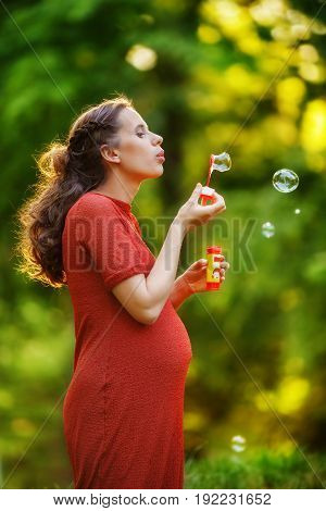 Pregnant woman in a red knitted dress blows soap bubbles standing on the edge of the forest at sunset