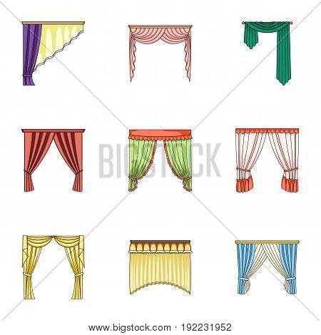 Different types of window curtains.Curtains set collection icons in cartoon style vector symbol stock illustration .
