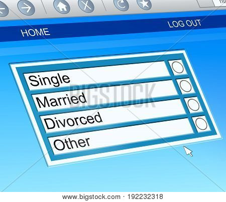 Illustration depicting a computer screen capture with a marital status check box concept.
