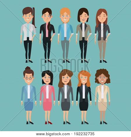 color background full body set of multiple women characters for business vector illustration
