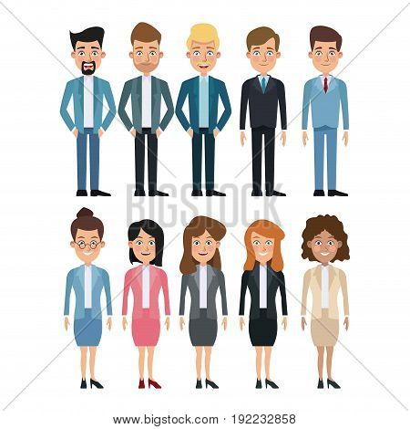 white background full body set of multiple women and men characters for business vector illustration