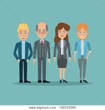 color background full body pair of young women and elderly men executives vector illustration