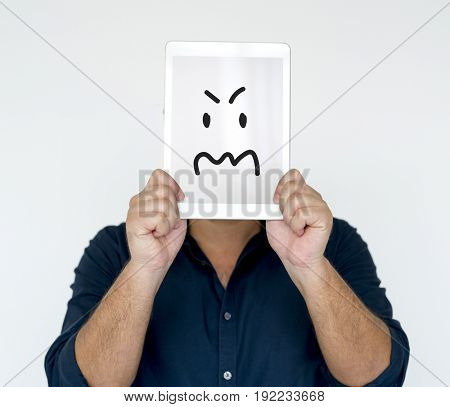 Illustration of aggressive madness face on banner
