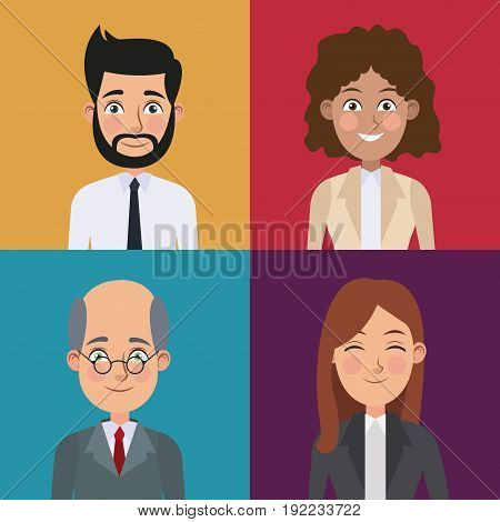 colorful sections frame set of half body business men and women vector illustration