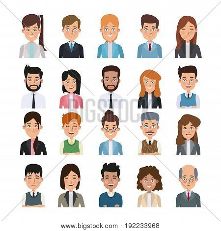 white background of colorful half body set of multiple people for business vector illustration