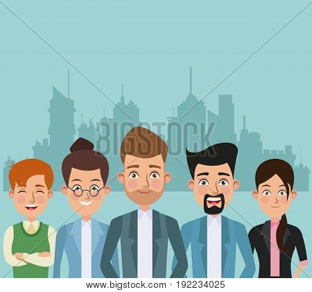 color city landscape silhouette background half body pair of women and men characters for business vector illustration