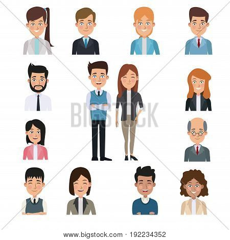 white background in center full body pair executive with half body people business around vector illustration