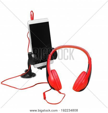 Musical equipment - Red headphone and smartphone on a white background. Isolated