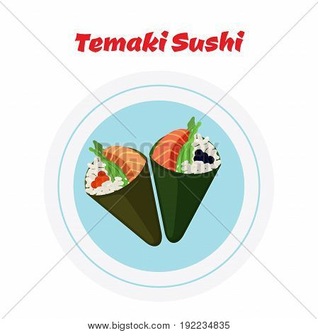 Temaki on plate. Raw fish - tuna, salmon, caviar, rice and nori in sushi. Made in cartoon flat style