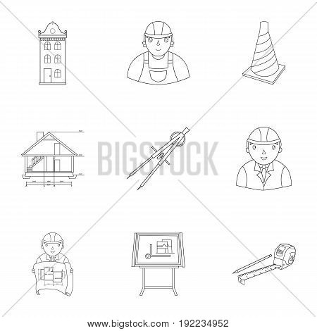 A set of icons on the theme of construction and architects. Builders, architects, and subjects for construction . Architect icon in set collection on outline style vector symbol stock web illustration.