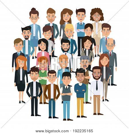 white background full body executive people meeting for characters business vector illustration
