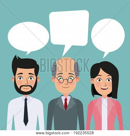 color background full body set pair of elegant executives woman ponytail hairstyle and man haircut vector illustration