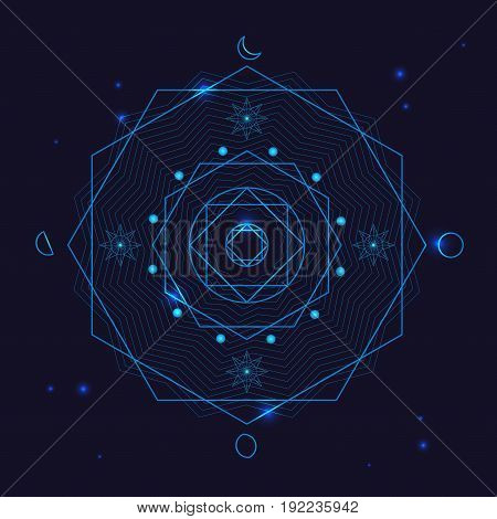 Alchemy Geometry Symbol Thin Line Mystic Polygon Sign on a Blue Background. Vector illustration