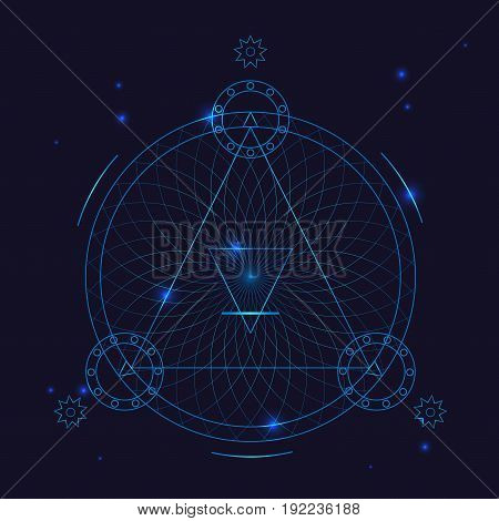 Alchemy Geometry Symbol Thin Line. Mystic Triangle Tattoo Sign on a Blue Background. Vector illustration