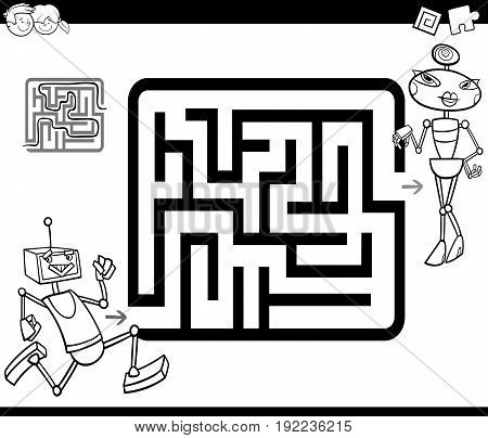 Black and White Cartoon Illustration of Education Maze or Labyrinth Game for Children with Robots Coloring Page