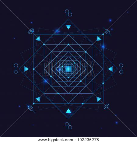 Alchemy Geometry Symbol Thin Line Occult Energy Form on a Blue Background. Vector illustration