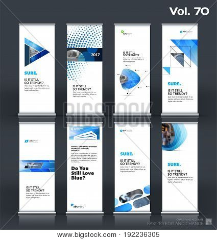 Abstract business vector set of modern roll Up Banner stand design template with blue geometric shapes for eco, market, exhibition, show, expo, presentation, fair, events.