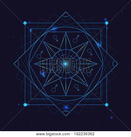 Alchemy Geometry Symbol Thin Line Religion Decoration Sign on a Blue Background. Vector illustration