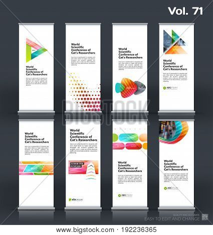 Abstract business vector set of modern roll Up Banner stand design template with colourful geometric shapes for eco, market, exhibition, show, expo, presentation, fair, events.
