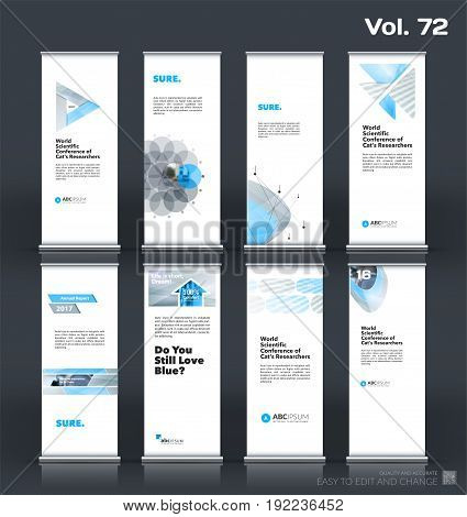 Abstract business vector set of modern roll Up Banner stand design template with grey geometric shapes for eco, market, exhibition, show, expo, presentation, fair, events.