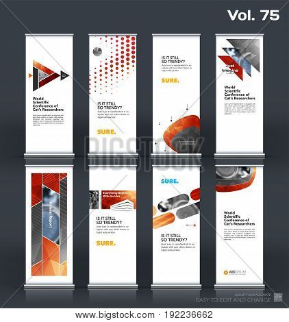 Abstract business vector set of modern roll Up Banner stand design template with red geometric shapes for eco, market, exhibition, show, expo, presentation, fair, events.