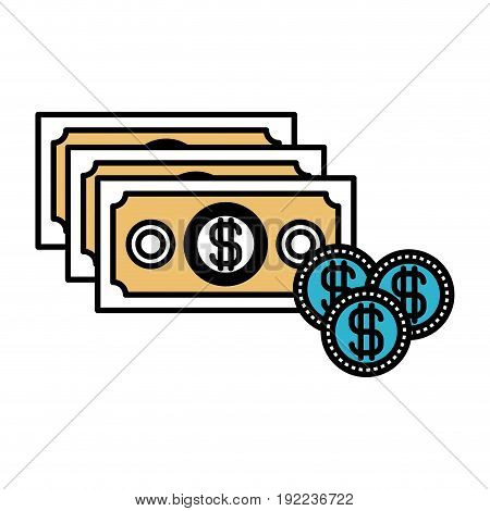 color sections silhouette of money bills and coins set vector illustration