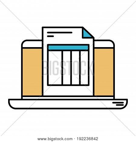 color sections silhouette of laptop computer and billing sheet vector illustration
