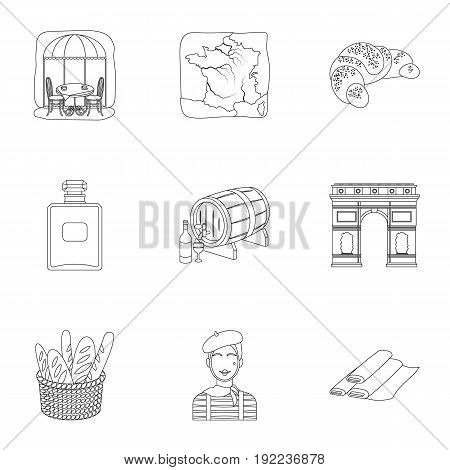 Attractions in France. Things to learn about France. France country icon in set collection on outline style vector symbol stock web illustration.