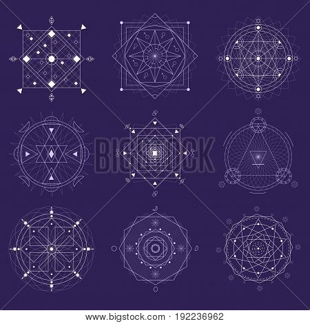 Alchemy Geometry Symbol Thin Line Set Religion Mystic Shapes on a Purple Background. Vector illustration