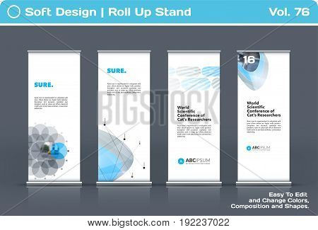 Abstract business vector set of modern roll Up Banner stand design template with grey soft shapes for summer festival, market, show, expo, presentation, parade, events.