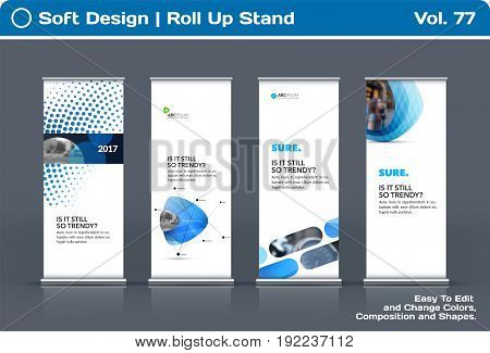 Abstract business vector set of modern roll Up Banner stand design template with blue soft shapes for summer festival, market, show, expo, presentation, parade, events.