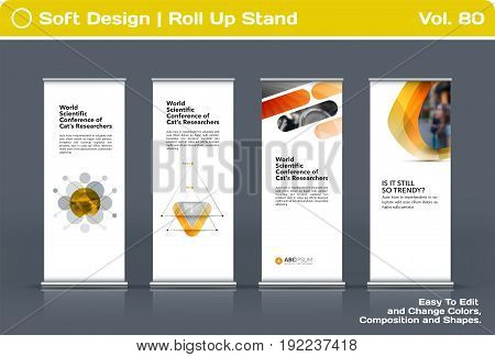 Abstract business vector set of modern roll Up Banner stand design template with yellow soft shapes for summer festival, market, show, expo, presentation, parade, events.