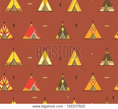 Cartoon Wigwams or Tepees Background Pattern on a Brown Traditional Tribal House Ornamental Element Flat Design Style. Vector illustration