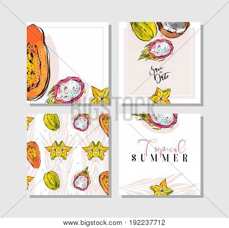 Hand drawn vector abstract freehand textured unusual tropical save the date cards set collection with palm leaves, dragon fruit, coconut, papaya and carambola isolated on white background.