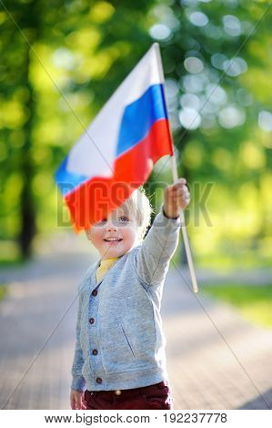 Cute Little Boy Holding Russian Flag