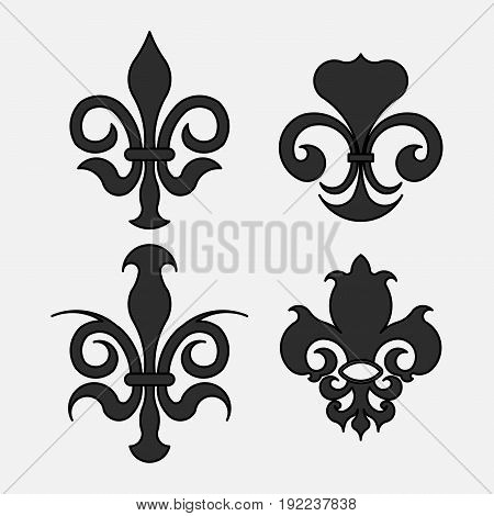 Fleur-de-lis the heraldic symbol of royal lily symbols for design fully editable image
