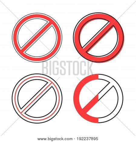 set of red prohibition sign. concept of embargo, hazard, prevention, attention, rule, indication, alert, alarm. isolated on white background. flat style trend modern logo design vector illustration