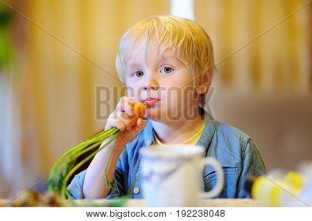 Cute Little Boy Eating Fresh Organic Carrot