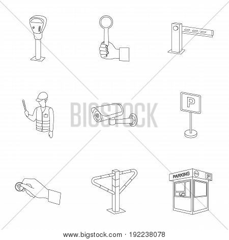 A set of icons for parking cars and bicycles. Fines and elements of parking.Parking zone icon in set collection on outline style vector symbol stock web illustration.