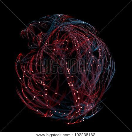 3d rendered organic connection background illustration. Veins like shape with small dots on them. Depth of field. Spherical neuron net concept.